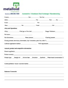 Automotive - Aluminum Heat Exchanger Manufacturing Survey1 ...  Metalloid