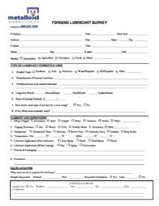Forging Lubricant Survey - Metalloid Corporation  Metalloid