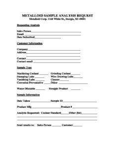 SAMPLE ANALYSIS REQUEST FORM - Metalloid Corporation  Metalloid